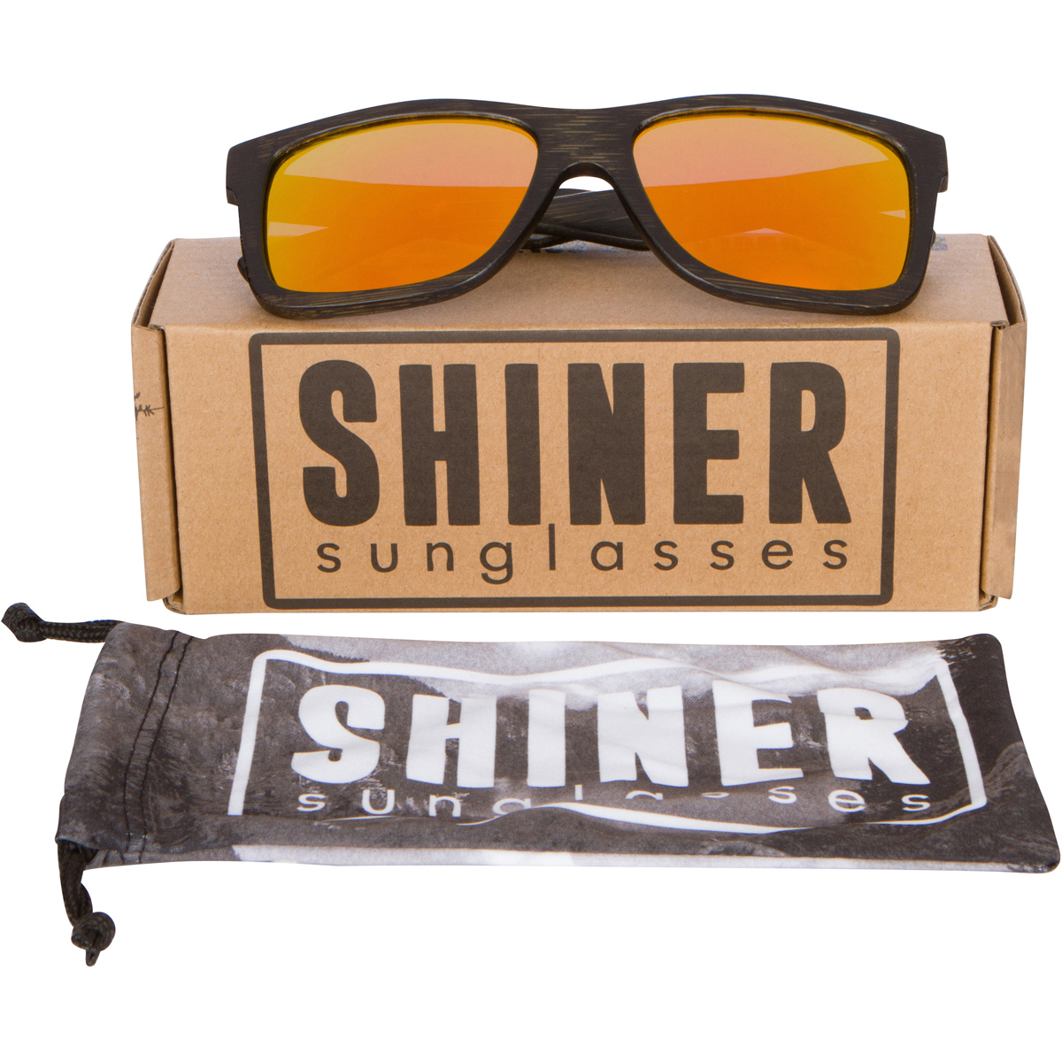 Wood Sunglasses with Polarized Fire Lenses
